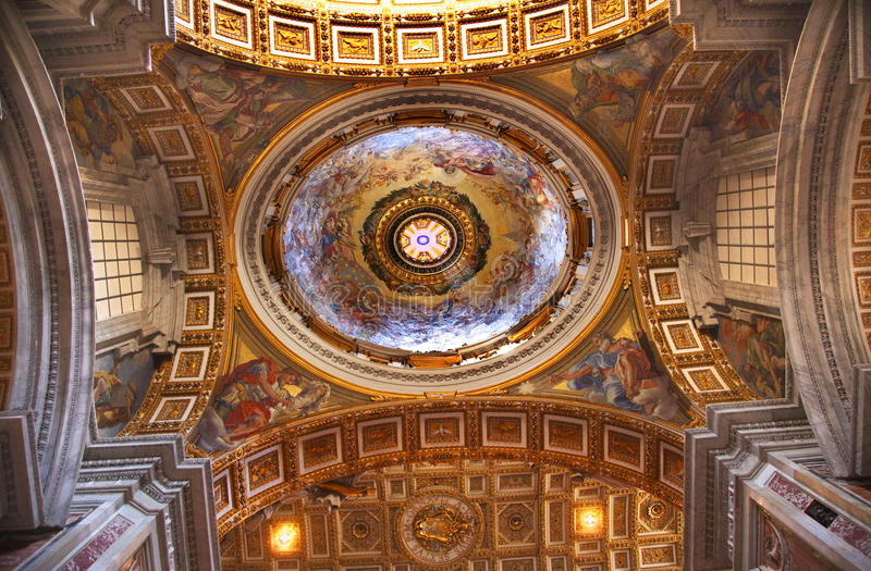 Vatican Inside Beautiful Ceiling Dome Rome Italy. Vatican Inside Beautiful Gold Ceiling Dome stock photography