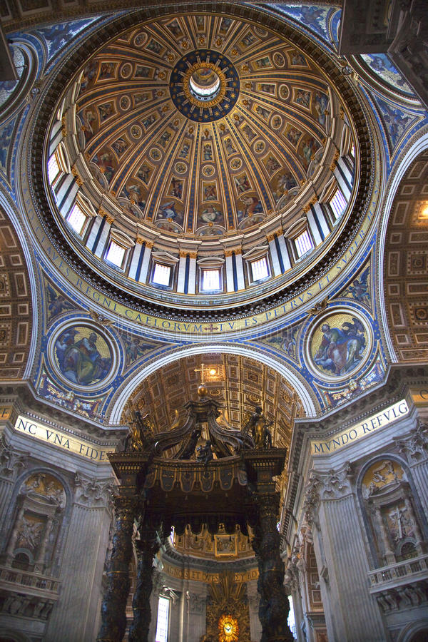 Vatican Inside Michaelangelo's Dome Rome Italy. Vatican Inside Ceiling Michaelangelo's Dome and Bernini's Baldacchino Saint Peter's Basilica Rome Italy royalty free stock image