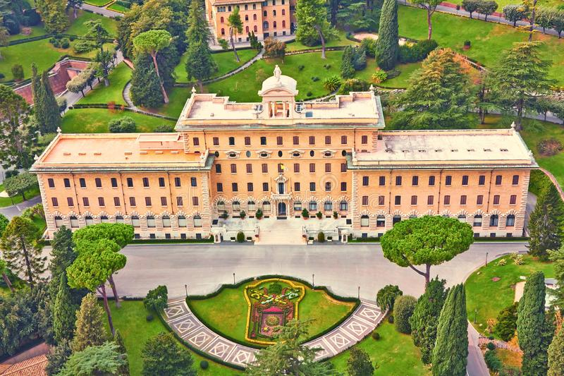Vatican Government Palace surrounded by manicured gardens. Top view from the Cathedral of St. Peter. Italy stock image