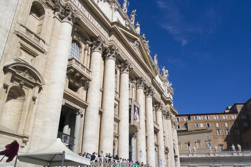 Vatican, ITALY - SEPTEMBER 6, 2016. Facade of St. Peter`s Square royalty free stock photography