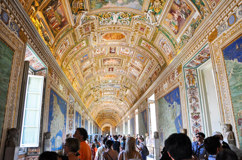 VATICAN - JULY 20: Maps Gallery in Papal Palace in the Vatican on July 20, 2010.The Gallery of Maps is a gallery located on the we. Maps Gallery in Papal Palace royalty free stock photo