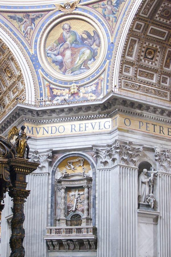 VATICAN - MAY 24, 2011: inside the basilica of Saint Peter stock image