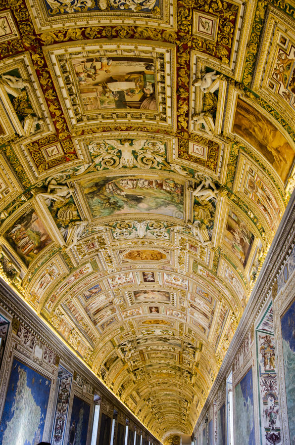 Vatican Museum. Gallery of the Geographical Maps in Vatican Museum stock photography
