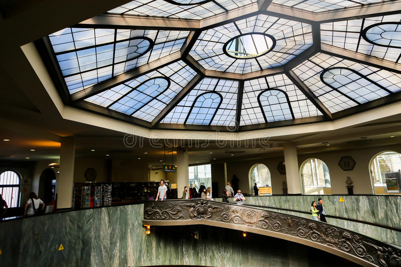 Vatican Museum. 22 April, 2015 Tourists stroll at Vatican Museum in Rome, Italy stock image