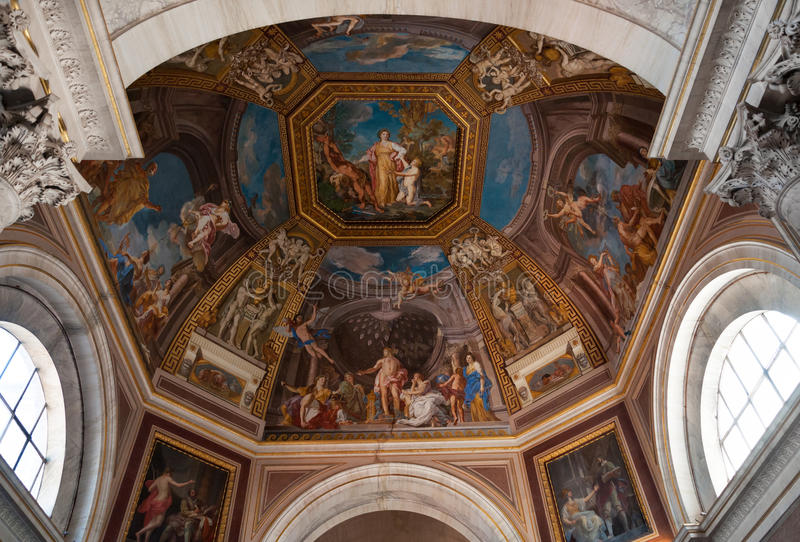 Vatican museum art. Detail of dome ceiling with holy paintings in Vatican museum, Rome, Italy royalty free stock photography