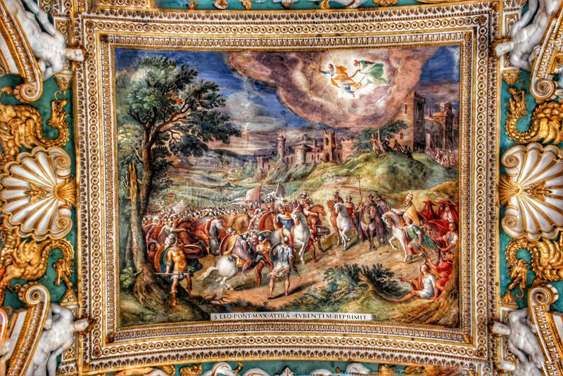 Vatican Museum Ceiling. The ceiling in the Geographic gallery of the Vatican Museums. Visitors at the Vatican Museums in Rome Italy.Its includes some of most stock image