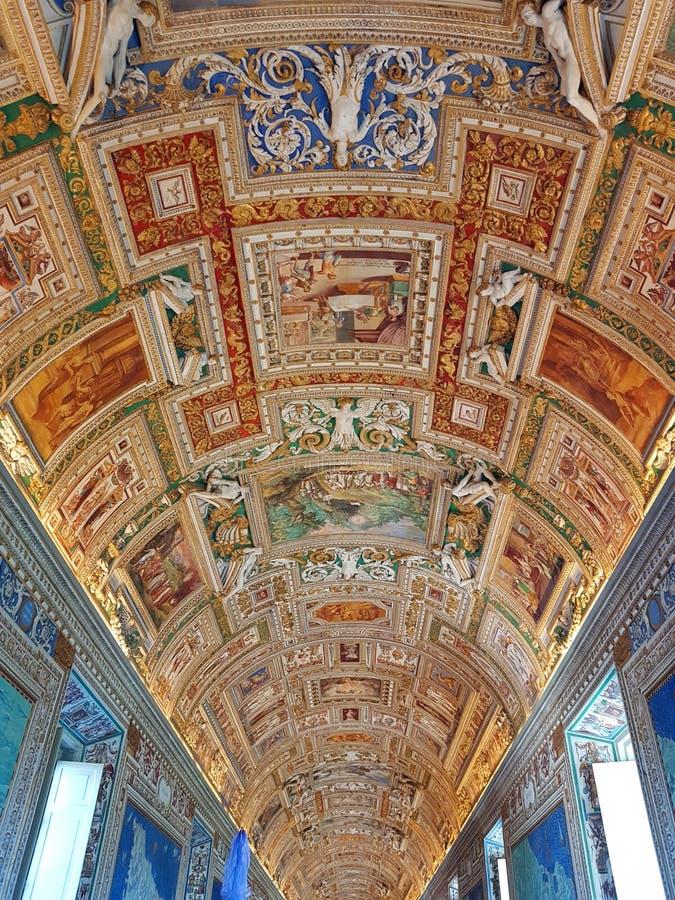 Vatican Museum Ceiling. ROME, ITALY - 11.30.2017: Vatican Museum Ceiling Antique works of art stock image