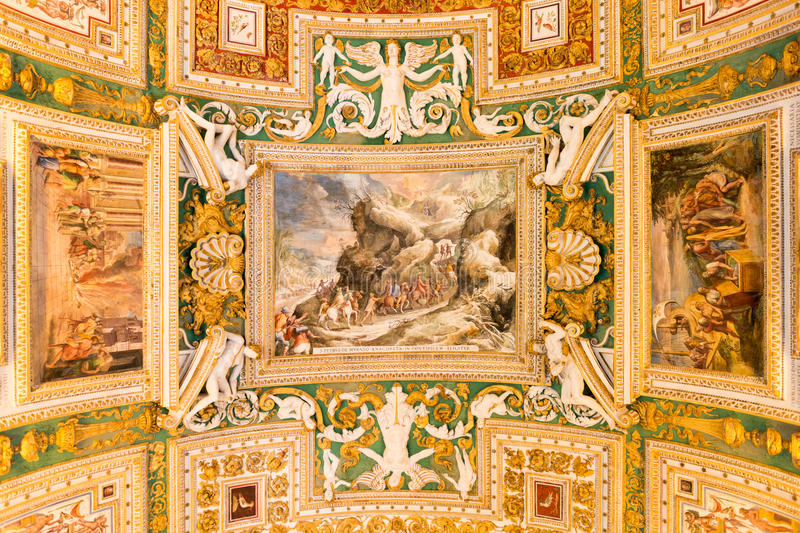 Vatican museum. Exquisite ceiling of Gallery of Maps, Vatican museum, Rome royalty free stock photography