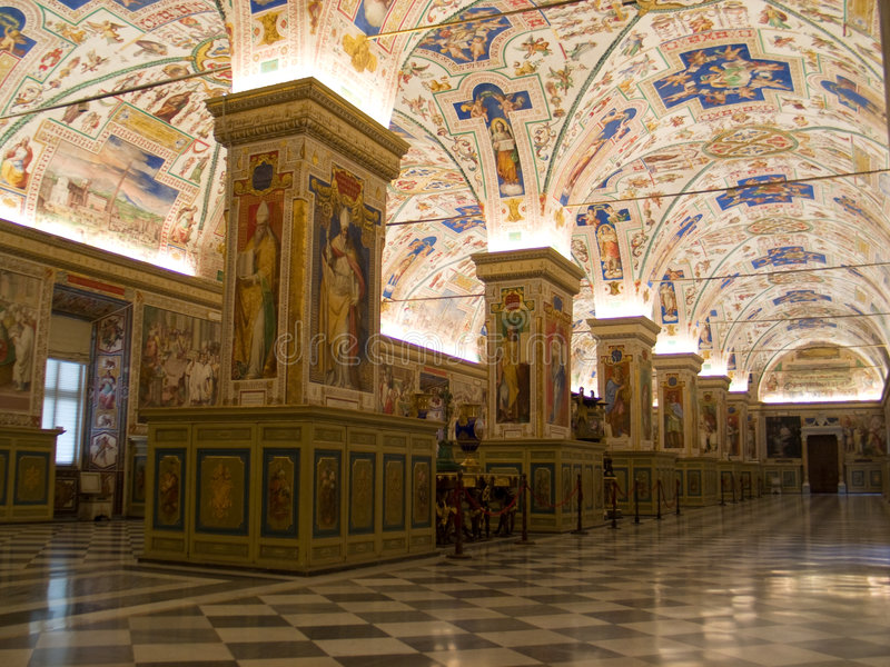 Vatican Museum Room. Frescoes, paintings and valuables in a no-access zone from inside the Vatican Museum in Rome (Italy stock image