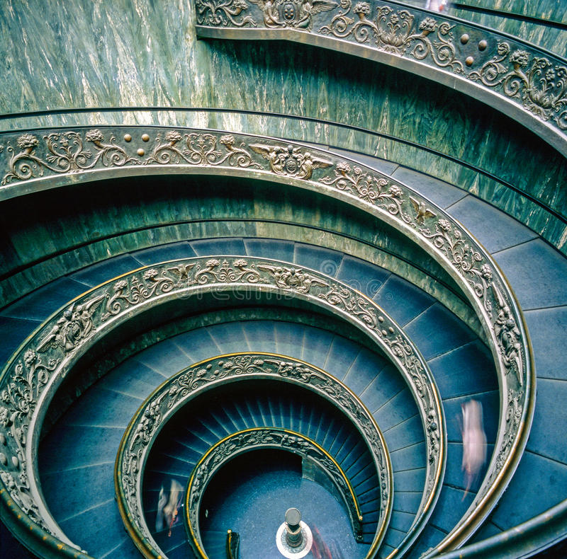 Vatican Museum, Spiral stairs. Spiral stairs in Vatican Museum, Rome royalty free stock photos