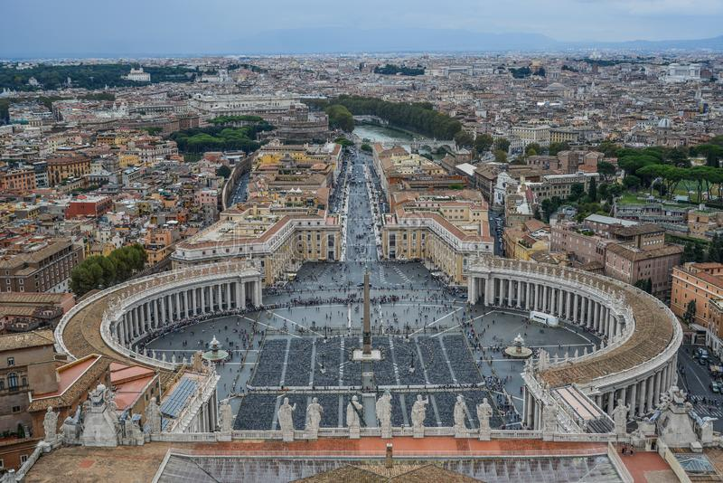 Aerial view St Peter Square Piazza San Pietro stock photo