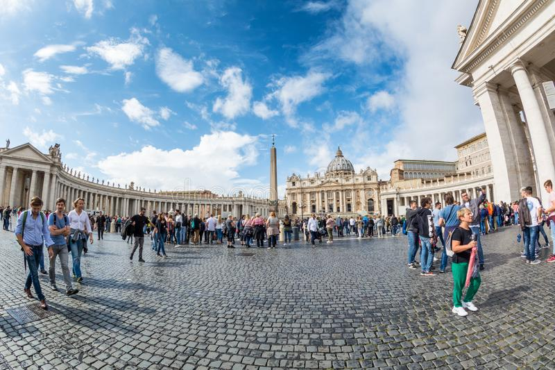 Front view of St. Peters basilica from St. Peter`s square in Vatican royalty free stock photo