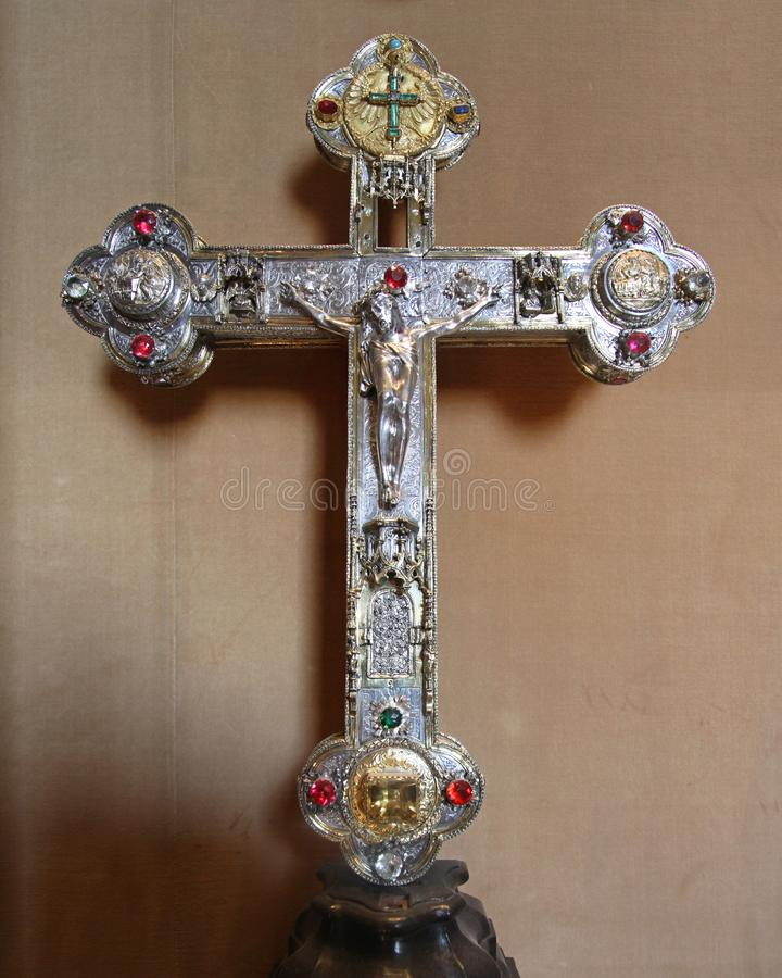 Silver Cross Vatican. Vatican - October 26, 2009: Silver Holy Cross With Diamonds in Vatican City royalty free stock photography