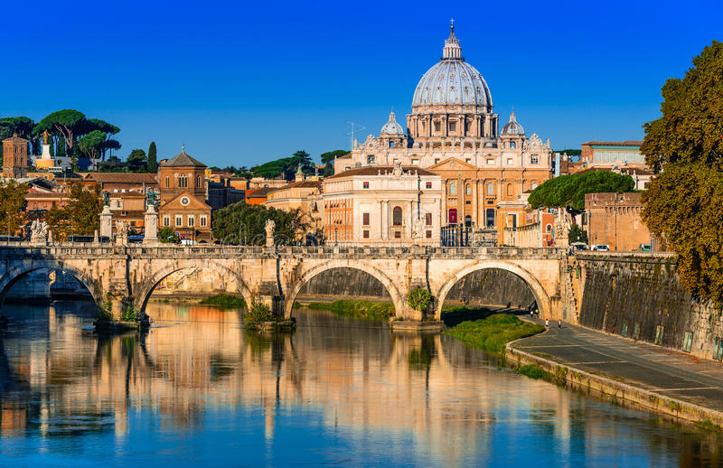 Vatican, Rome, Italy. Rome, Italy. Vatican dome of San Pietro and Sant Angelo Bridge, over Tiber river royalty free stock photography
