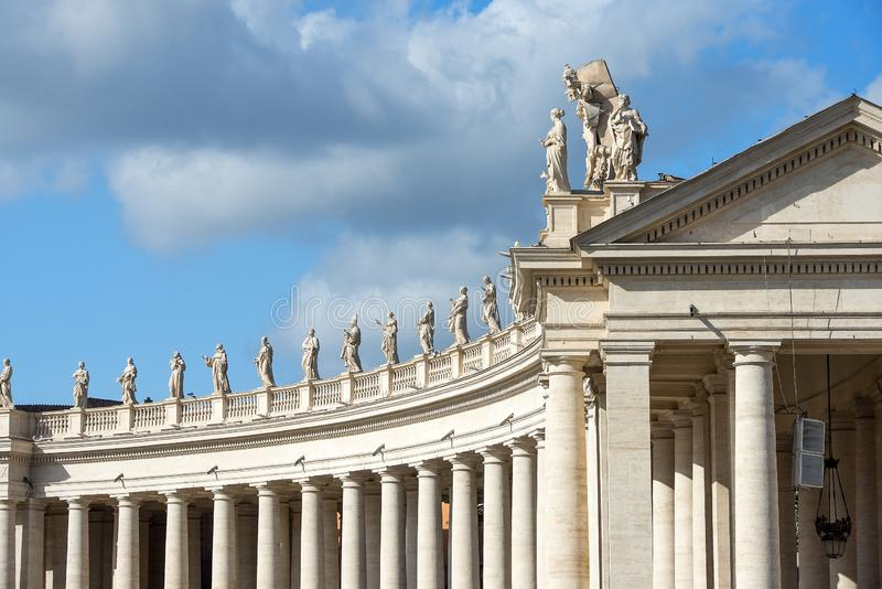 Colonnade of right wing of the St. Peters Basilica in Vatican. Vatican, Rome, Italy - october 27, 2018 : colonnade of right wing of the St. Peter`s Basilica at stock images