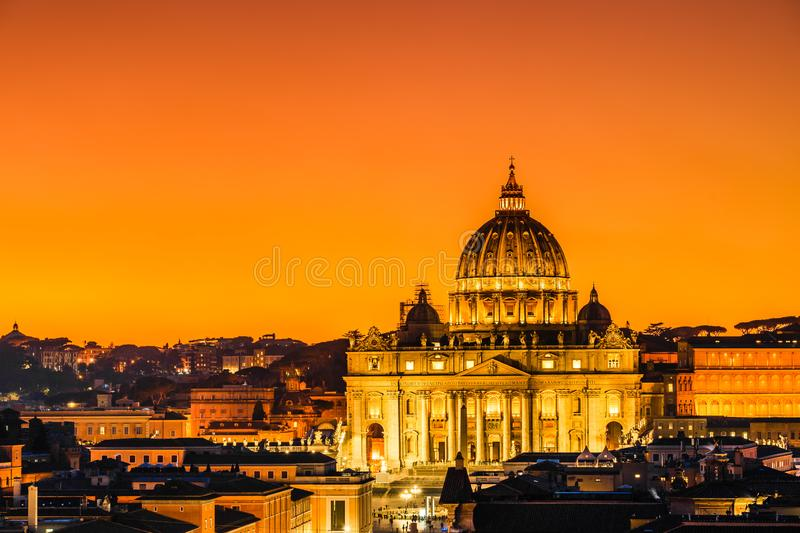 Sunset view of St. Peter's Basilica in Vatican City, Rome, Italy stock image
