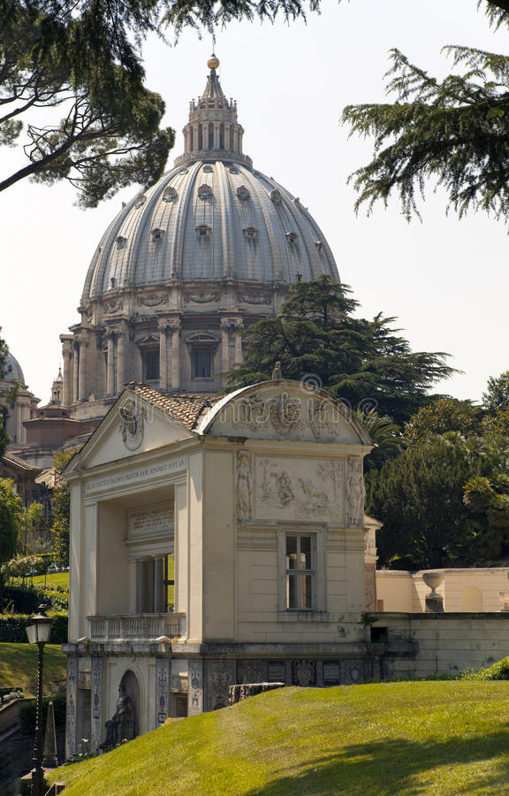 VATICAN- SEPTEMBER 20: loggia casino Pius IVand calotte of St. Peter's Cathedral at the Vatican Gardens on September 20, 2010 in royalty free stock photo