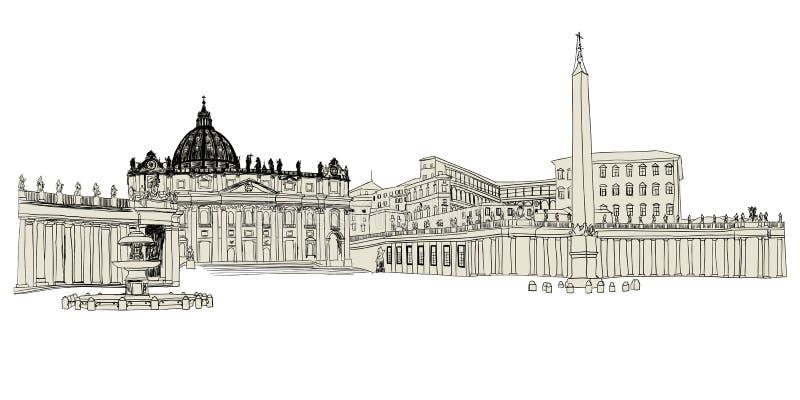 Vatican skissar vektor illustrationer