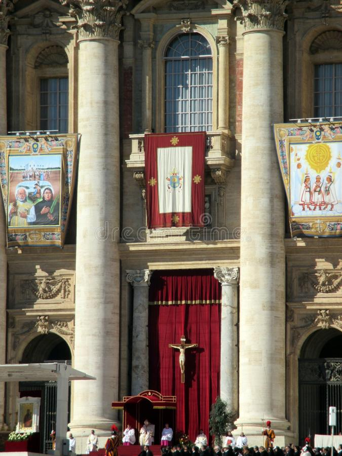 Vatican Square Saint Peter Mass Pope Francis Roma Italy. Vatican Square Saint Peter Mass Pope FrancisnRoma Italy Europe Mass of canonizations October 15, 2017 stock photo