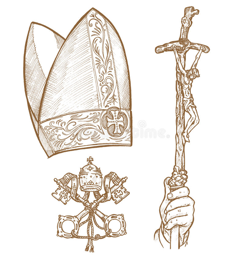 Vatican symbolS. DESIGNED BY HAND, HAIR ,and CROSS EMBLEm