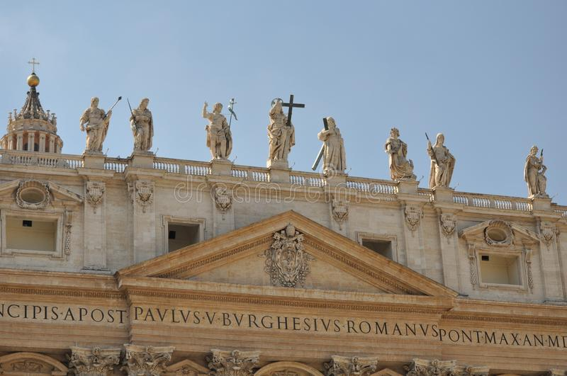 Statues carved by Michelangelo on the top of Saint Peter`s Basilica facade, Rome. Vatican, Vatican City, Italy, September 12, 2015: Statues carved by royalty free stock photos