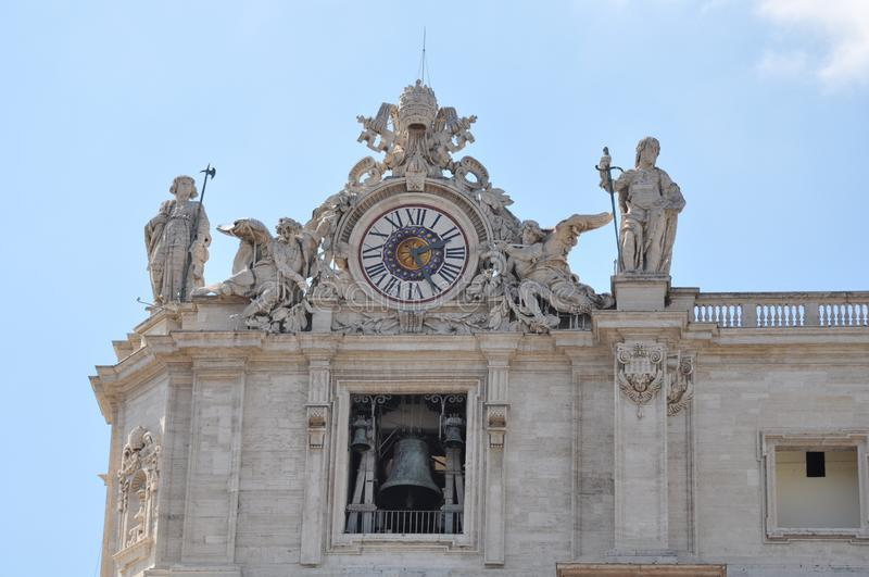 Statues carved by Michelangelo on the top of Saint Peter`s Basilica facade, Rome. Vatican, Vatican City, Italy, September 12, 2015: Statues carved by stock images