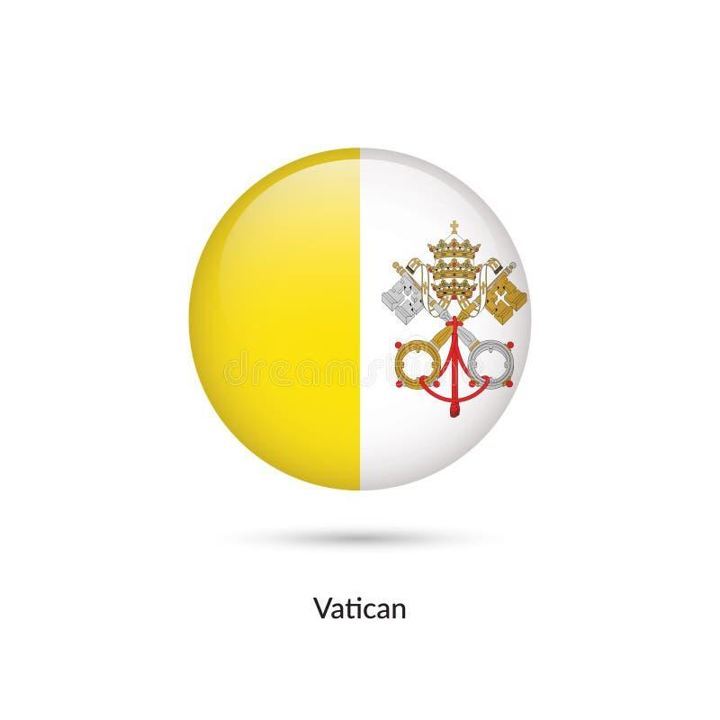 Vaticanenflagga - rund glansig knapp vektor illustrationer