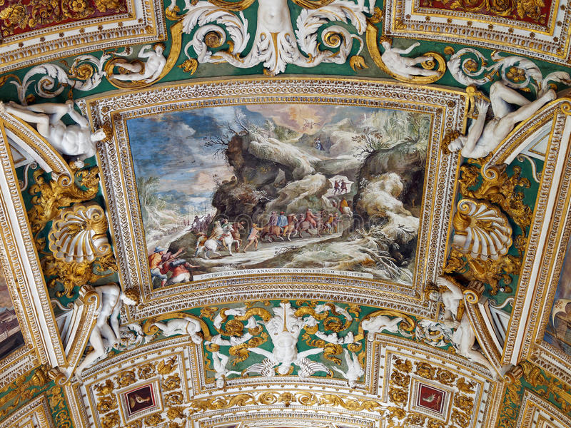 Vaticanentak, färgglade freskomålningar, biblisk plats royaltyfri bild
