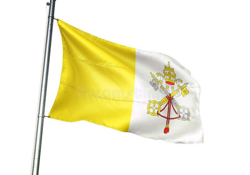 Vatikanstadtstaatsflaggewellenartig bewegen lokalisiert auf realistischer Illustration 3d des weißen Hintergrundes lizenzfreie abbildung