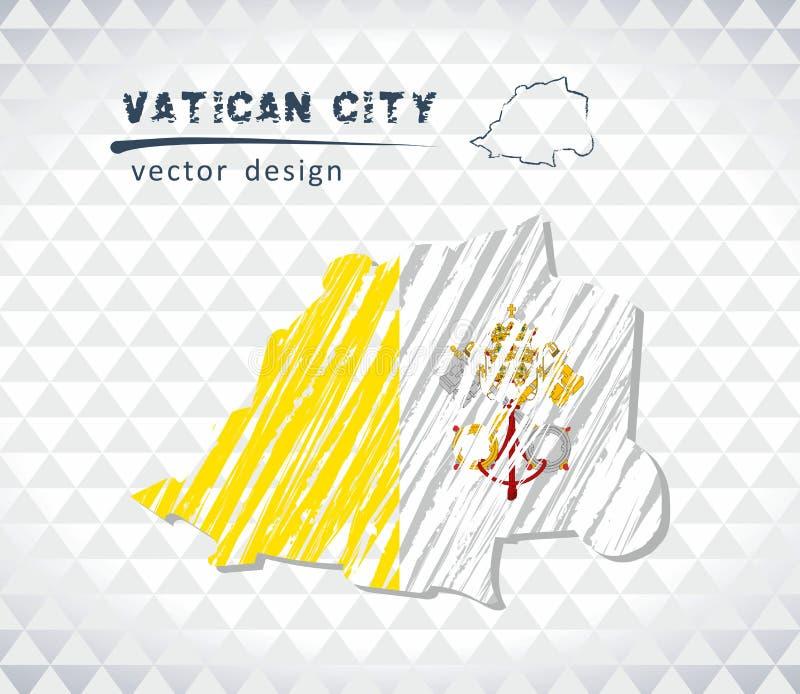 Vatikanstadtvektorkarte mit dem Flaggeninnere lokalisiert auf einem weißen Hintergrund Gezeichnete Illustration der Skizzenkreide vektor abbildung