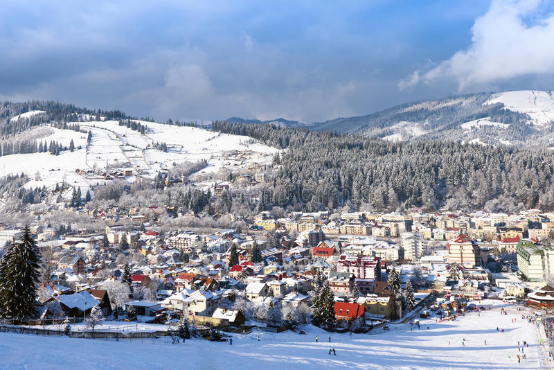 Vatra Dornei in winter time with snow stock photos