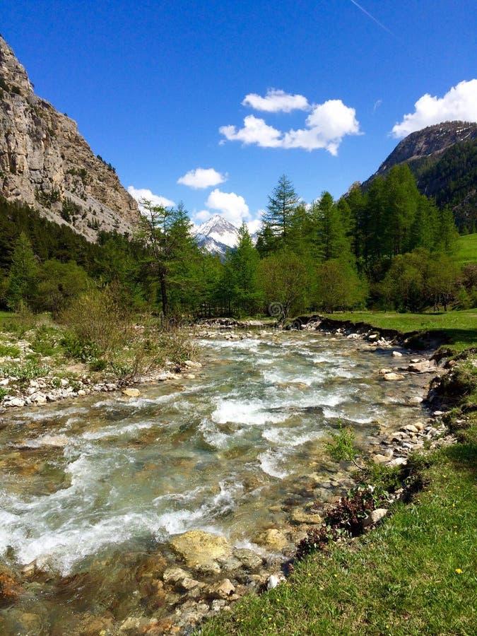 Vatten av Alpine Creek, Nevache, Frankrike arkivfoton