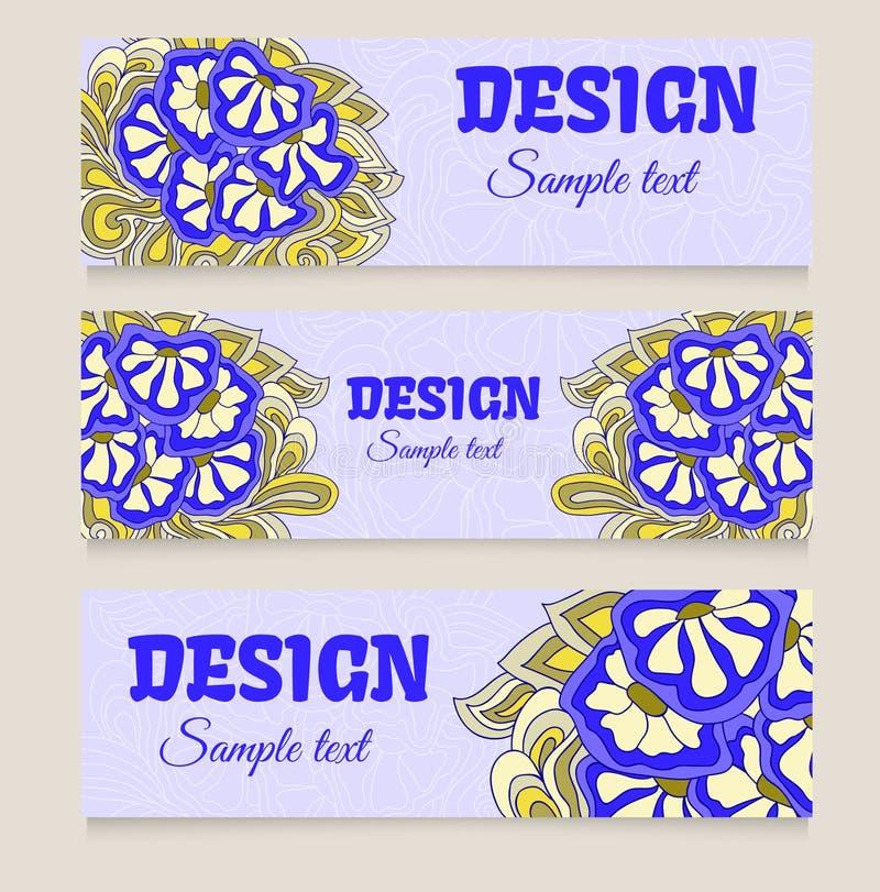 vatten de horizontale banners van ontwerpmalplaatjes, vliegers, blauwe bloemenkrabbel samen royalty-vrije illustratie