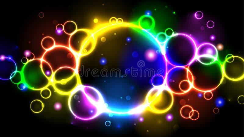 Vatten de de kleuren heldere bellen van het regenboogneon, veelkleurige cirkels als achtergrond, fonkelingen samen en bokeh vector illustratie
