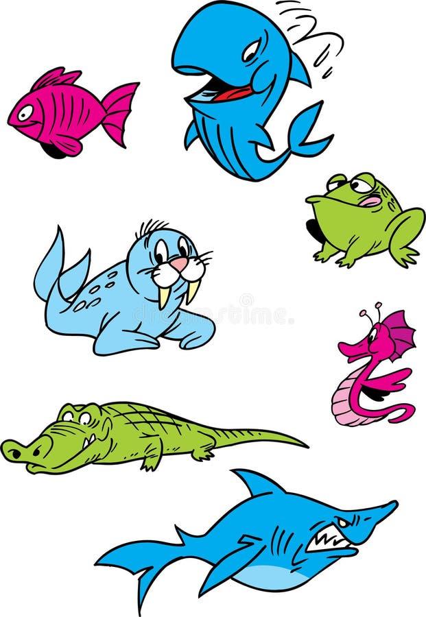 Vatten- djur för tecknad film vektor illustrationer