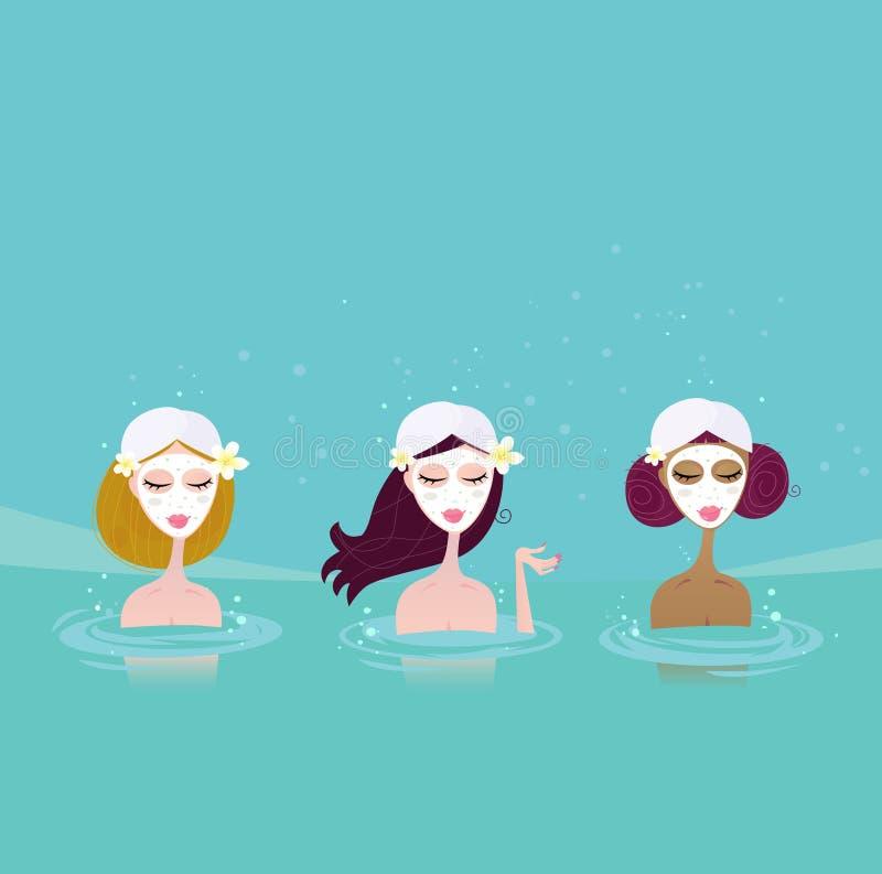 vatten för damtoalettbrunnsort tre stock illustrationer