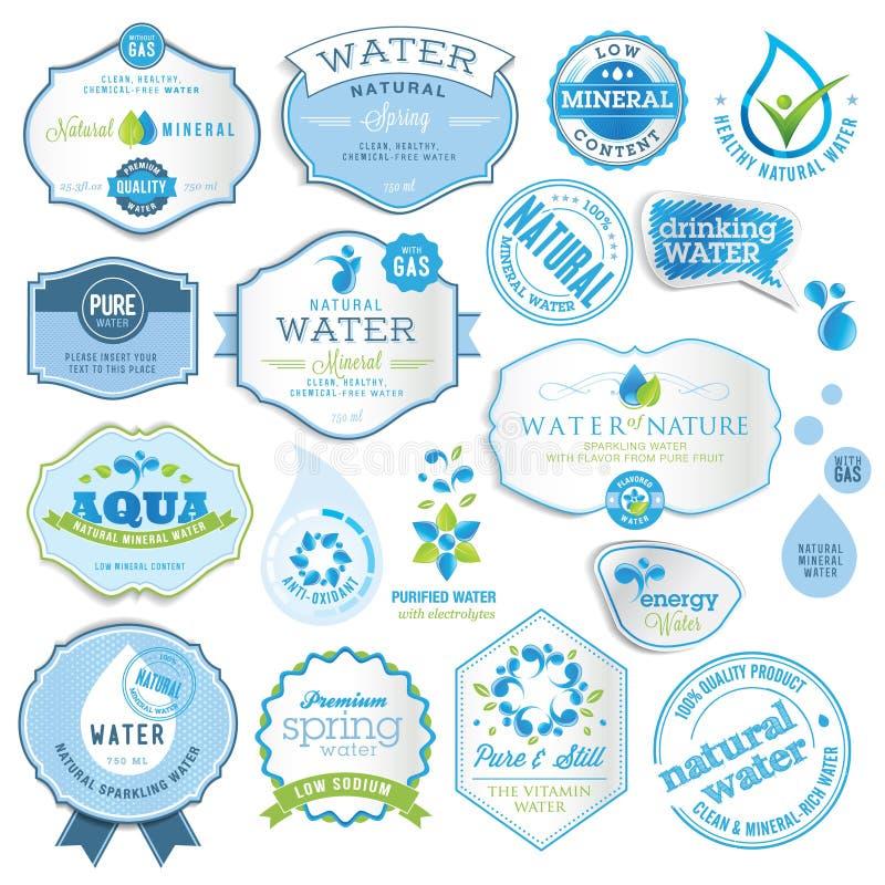 vatten för etikettset vektor illustrationer