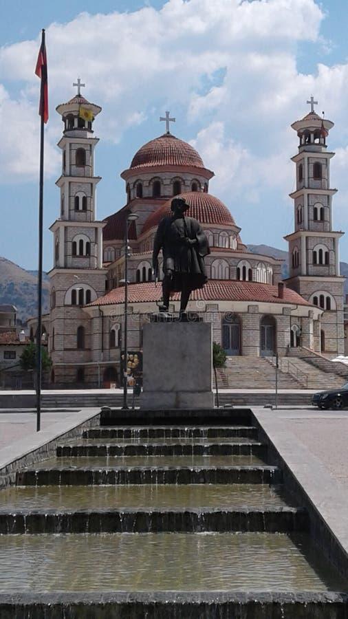 Vatten för Korça gammal stad för gammalt stadsAlbanien travelphotography arkivbilder