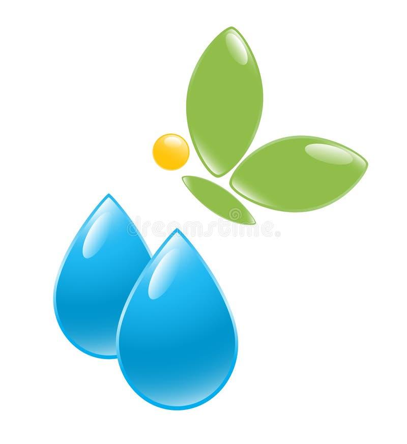 vatten för symbol för fjärilsdroppgreen royaltyfri illustrationer