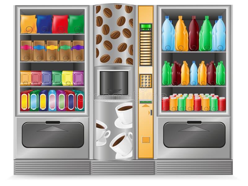 vatten för vending för kaffemaskinmellanmål stock illustrationer
