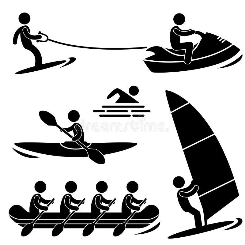 vatten för pictogramhavssport stock illustrationer