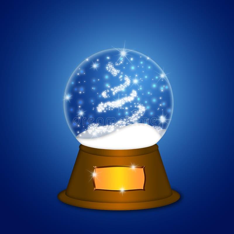 vatten för tree för sparkles för juljordklotsnow vektor illustrationer