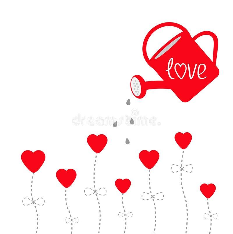 Vatten kan och röda blommor i form av hjärta. Förälskelsekort. vektor illustrationer