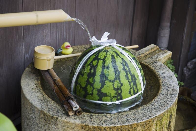 Vatten-kyld vattenmelon royaltyfri bild