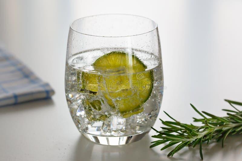 Vatten med citronen i ett exponeringsglas arkivfoton