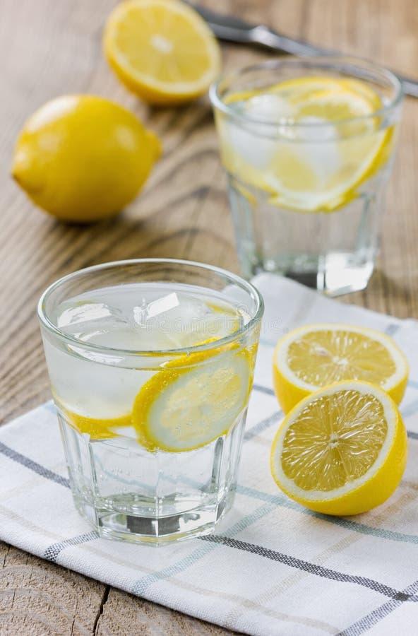 Vatten med citroner och iskuber arkivbild