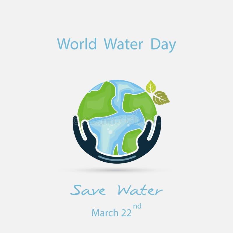 Vatten med världssymbolen och den mänskliga mallen för design för handvektorlogo Symbol för världsvattendag Aktion för idé för vä stock illustrationer