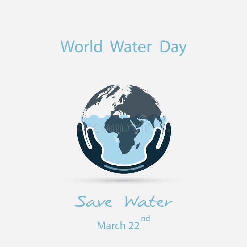 Vatten med världssymbolen och den mänskliga mallen för design för handvektorlogo Symbol för världsvattendag Aktion för idé för vä royaltyfri illustrationer