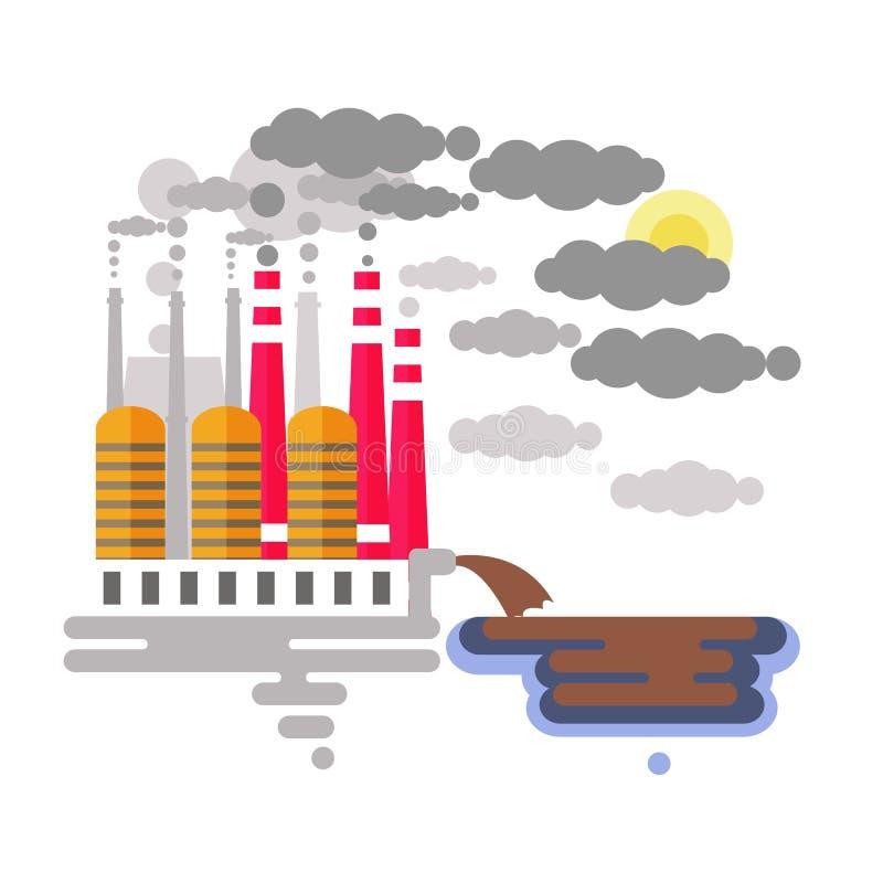 Vatten och luftförorening stock illustrationer