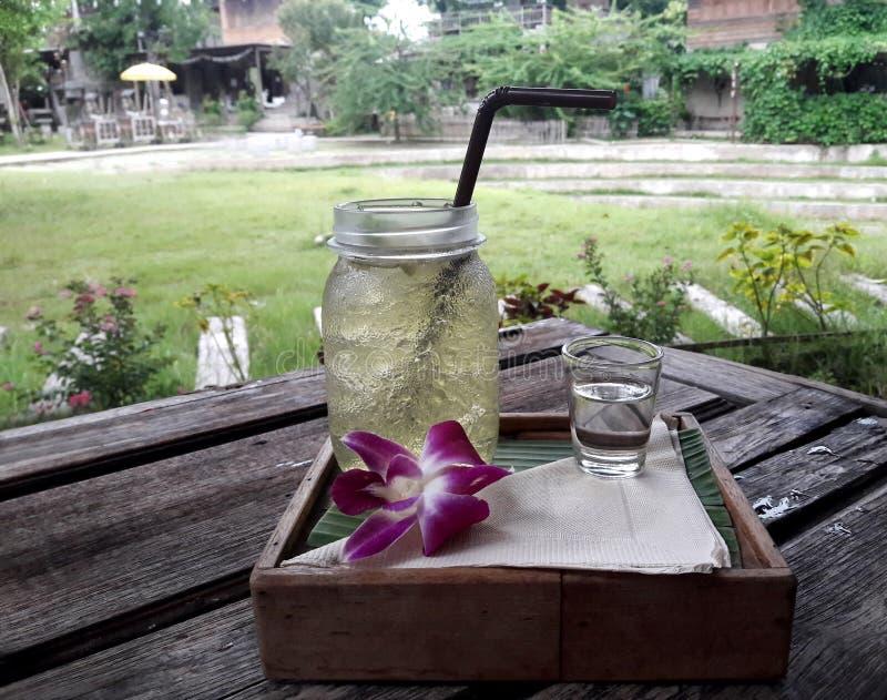Vatten och sirap för sommardrinklemongrass utomhus i solig dag royaltyfri fotografi